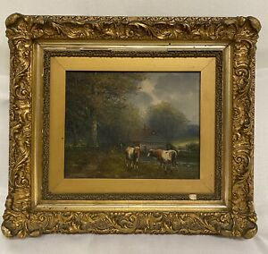Antique Painting 19th C. Oil On Canvas Landscape W Cows Signed . $545.00