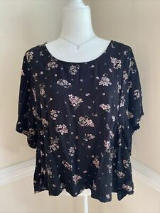 Lucky Brand Women's XL Top Black Pink Floral Print Relaxed