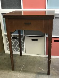 Vtg Sewing Machine Table Cabinet Mid Century Wood 7.25quot;x14.75quot; Standard Opening $99.99