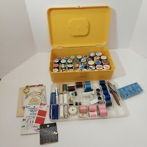 Vintage WIL HOLD Wilson Gold Plastic Sewing Box amp; Lot of Sewing Supplies $29.50