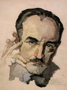 NICOL SCHATTENSTEIN 20th c Russian American NY SELF PORTRAIT WATERCOLOR PAINTING $295.00