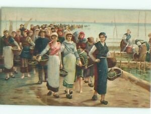 foreign c1910 Postcard WOMEN WALKING WITH ANTIQUE BASKETS AC3794 C $2.47