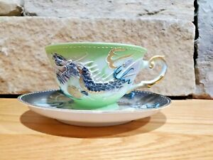 Vintage Dragon Ware Lithophane Green Tea Cup and Black Saucer made in Japan
