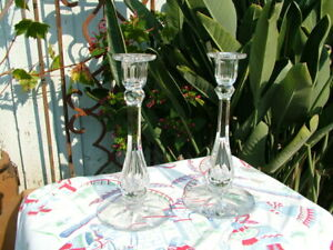ANTIQUE SIGNED TUTHILL AMERICAN BRILLANT CUT GLASS PAIR CANDLESTICKS $165.00