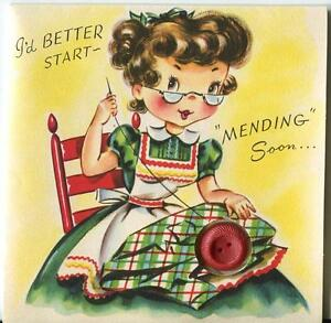VINTAGE SEAMSTRESS EYEGLASSES SEWING RED BUTTON PLAID RED CHAIR BD GREETING CARD $600.00