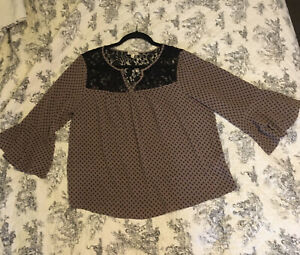 Lily White XL Brown With Black Lace Bodice 3 4 Bell Sleeve $6.33