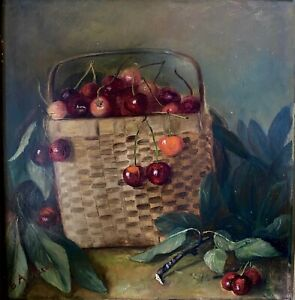 Vintage Painting Woven Basket w Cherries Signed maybe G.A.Pierce Oil Framed $350.00