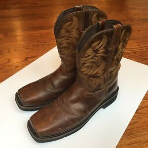 JUSTIN Mens Western Cowboy Comp Toe Work Boots WK4824 Brown Leather Sz 13 D