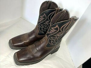 Justin Square Toe Work Boots Dk.Brown Sz.11EE Great Condition