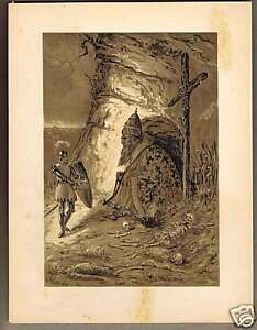 Conder Allegory GIANT POPE and KNIGHT- 1869 Lithograph $18.99