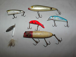 VINTAGE 6  HEDDON ZELL ROWLAND KEVIN VANDAM CORDELL ROOSTER TAIL FISHING LURES