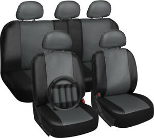 Faux Leather Car Seat Covers Gray Black 17pc wSteering WheelBelt PadHead Rest