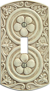 Old World Canterbury Switchplate Cover Toggle Aged Antique White