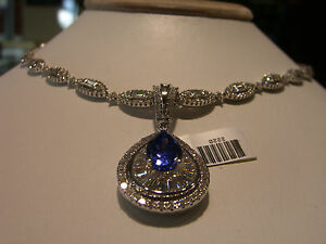 FINE DESIGNER DIAMOND AND TANZANITE NECKLACE HAND MADE ONE OF A KIND!!