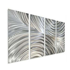 Metal Wall Art Modern Art Wall Sculpture Silver Home Office Decor Jon Allen $250.00