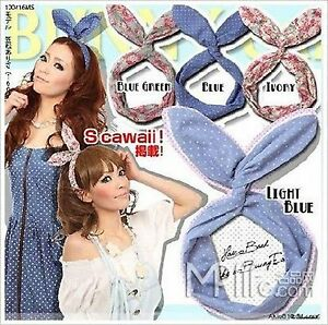 1pc Fashion Chic Women wire Girl Bunny rabbit bow Hair scarf wrap head band
