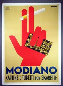 MODIANOFarkasVintage Litho1932 Italy Smoking PosterCigarette Rolling Papers