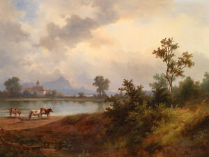 Large art Oil painting cows cattles by the river in sunset landscape no framed $81.99