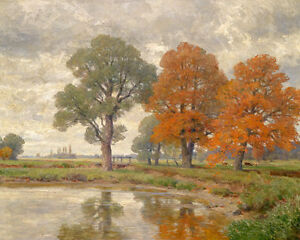 Large art Oil painting huge autumn trees by the pond with cows in landscape $81.99