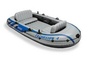 Intex Excursion 4 Person Inflatable Rafting and Fishing Boat Set with 2 Oars