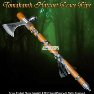 Native American Indian Warrior Tomahawk Hatchet Axe Peace Pipe Tobacco Smoke