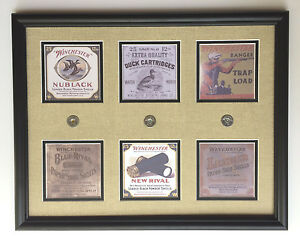 Winchester old  replica shotgun shell boxes framed display