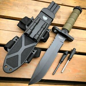 12.5 MILITARY TACTICAL Hunting FIXED BLADE SURVIVAL Knife w Fire Starter Army $19.95