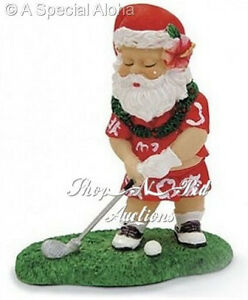 Hawaiian GOLFING SANTA CHRISTMAS ORNAMENT Hawaii New NIB Aloha Shirt Festive Lei