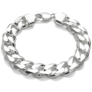925 Sterling Silver Men's Solid Cuban Curb Link Chain Bracelet 13mm (350 Gauge)