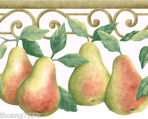 Tuscan Tuscany Fruit Vine Pear Pears Gold Scroll Beige Kitchen Wall paper Border