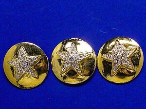 3 ESCADA RHINESTONE DESIGNER SOLID METAL REPLACEMENT BUTTONS GOOD COND. $49.95