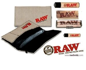 RAW SMOKERS POUCH WALLET BUNDLE Rolling Papers79mm Roller Machine 2 Lighters