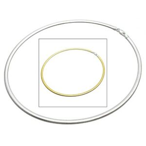 925 Sterling Silver Reversible Silver & Gold Omega Chain Necklace 3mm or 4mm
