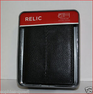 Relic Men's LEATHER Bifold TRAVELER Wallet - ZIPPER Area Organizer ID BLACK =NEW