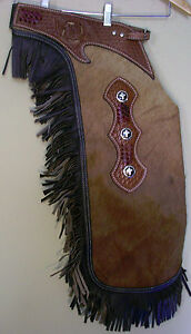 Western Saddle Horse Real Hair on Leather Large Chinks  Chaps Rodeo Gymkhana