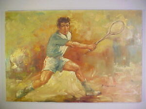 VINTAGE 1960s PAINTING OF A NEALE FRASER TENNIS CHAMP BY F DRESSEN OIL ON CANVAS