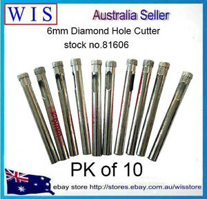 10 PK 6mm Diamond Tile Drill Bit for Glass,Ceramic,Porcelain,Marble