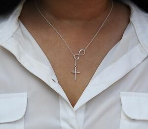New 925 STERLING SILVER Large Infinity Cross Lariat pendant Necklace