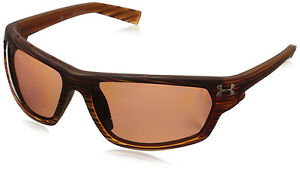 Under Armour UA Men's Hook'd Large Polarized Sunglasses Wood Grain Brown Z87.1