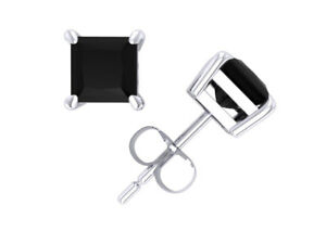 1.00Ct Princess Cut Black Diamond Solitaire Stud Earrings 14k White Gold Prong