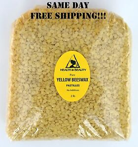 YELLOW BEESWAX BEES WAX ORGANIC PASTILLES BEADS PREMIUM 100% PURE 32 OZ 2 LB