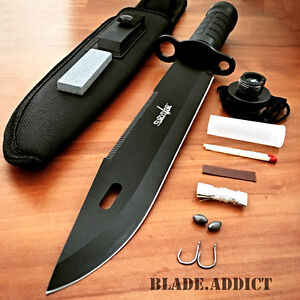 15 Tactical Hunting Rambo Fixed Blade Knife Machete Bowie w Survival Kit