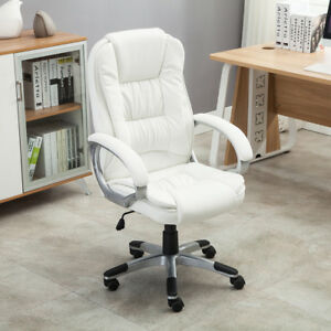 White PU Leather High Back Office Chair Executive Ergonomic Computer Desk Task $99.99