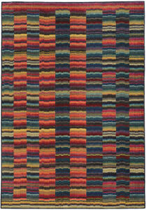 Pantone Universe Multi Lines Bars Grid Rows Contemporary Area Rug Abstract 603X5