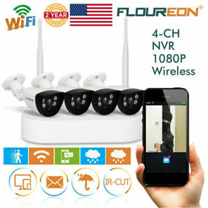 4CH Wireless 1080P DVR Wifi WLAN Outdoor NVR Security Camera System Night Vision