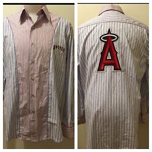 Robert Graham Men's Anaheim Angels Baseball Designed Long-Sleeve Dress Shirt