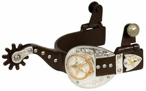 Ladies Antique Brown 9 pt Rowel Silver Buckle Gold Star Western Spurs