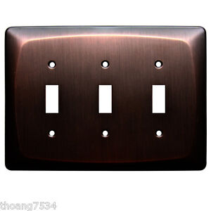 ALLEN ROTH Triple Switch Toggle DARK OIL RUBBED BRONZE Metal Wall Plate 0364657