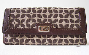 Fossil Signature Fabric Checkbook Clutch Leather Trim Ladies Wallet Purse