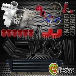T3T4 Univerial V-Band TurboTurbocharger Upgrade Kit wU Pipes+BOV+Oil Lines